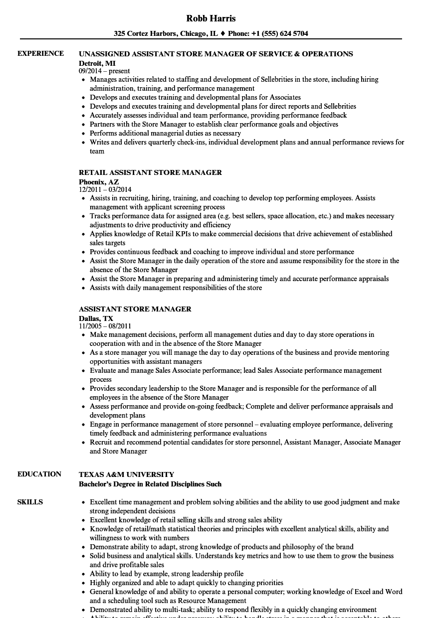 assistant retail managers resume template