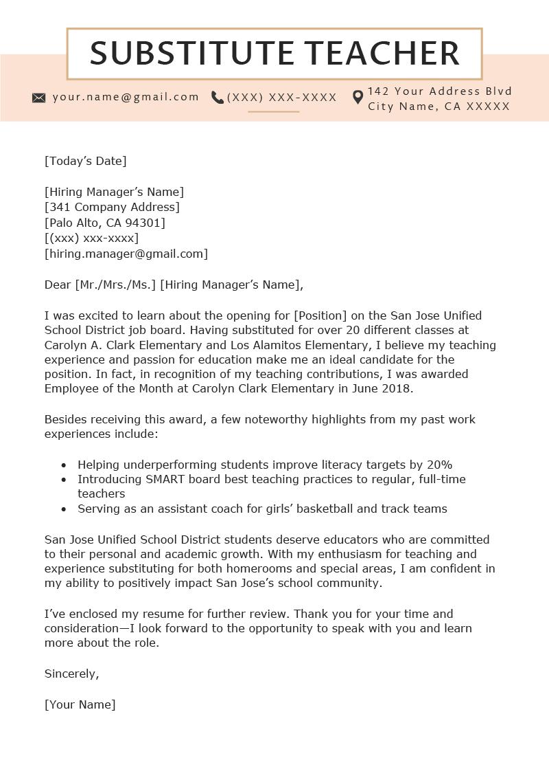 Teacher Application Cover Letter Examples June 2021