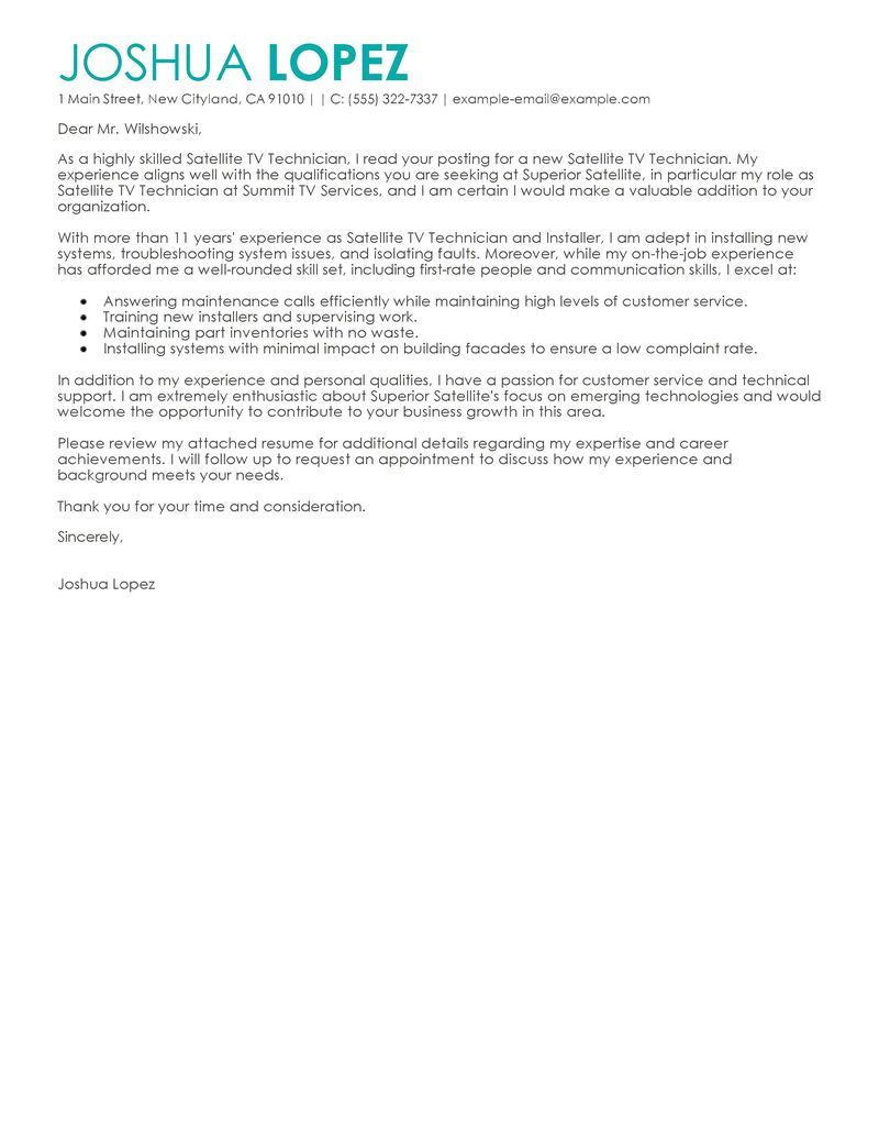 Cable TV Installer Cover Letter Sample | | Mt Home Arts