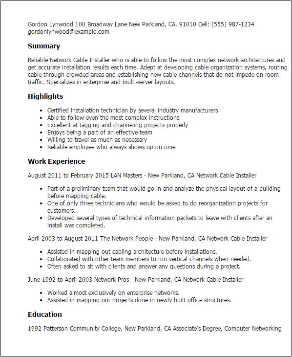 Junior Software Developer Cover Letter Sample: Cable TV Installer Cover Letter Sample