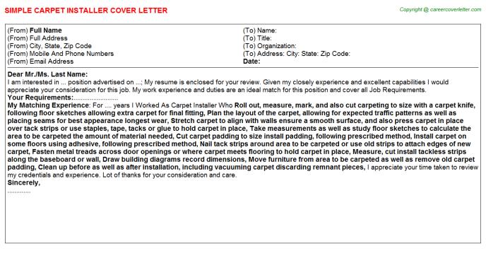 Carpet Installer Cover Letter Sample | | Mt Home Arts