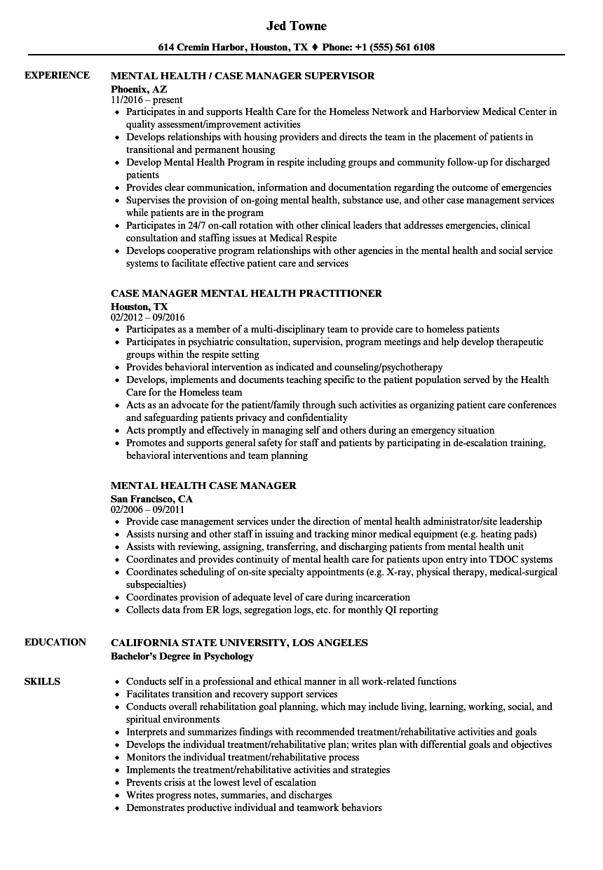 caseworker job description for resume