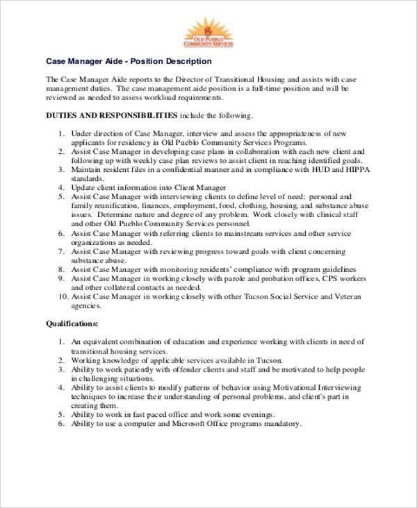 Caseworker Job Description For Resume