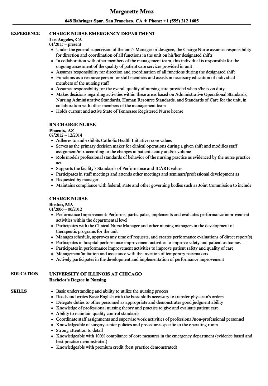 charge nurse resume