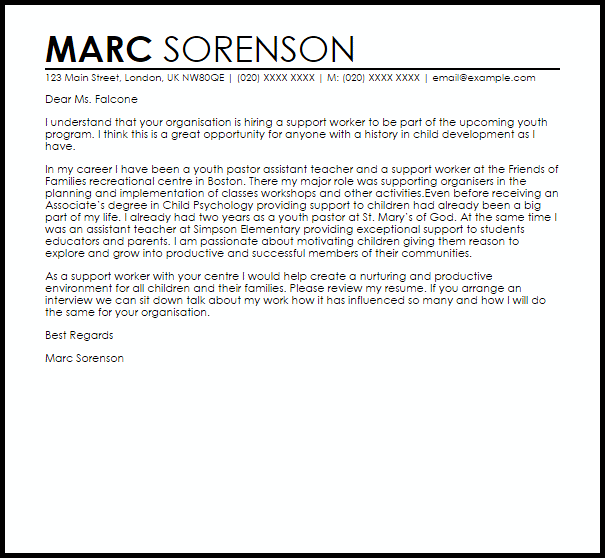 Child And Youth Worker Cover Letter Sample | | Mt Home Arts