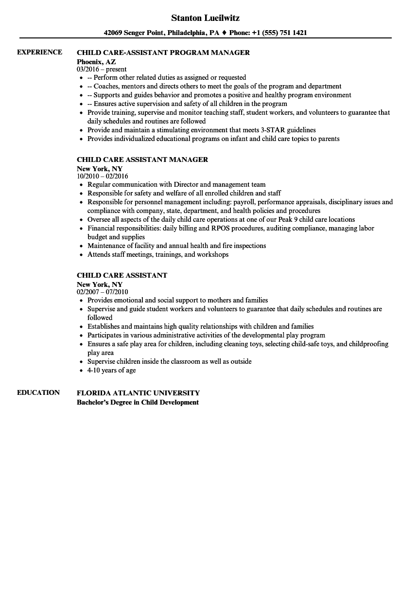 Childcare Resume Template Example Mt Home Arts