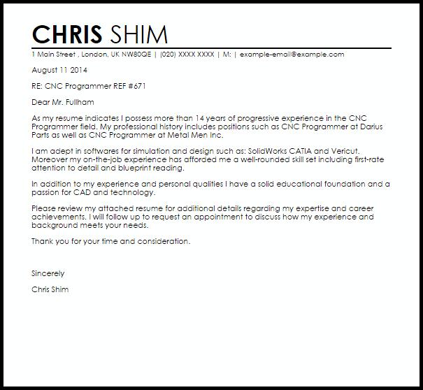 CNC Programmer Cover Letter Sample | | Mt Home Arts