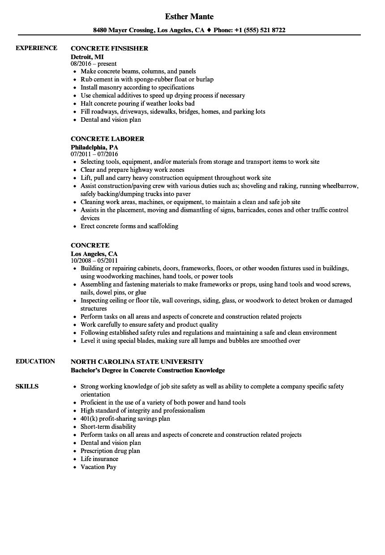 concrete worker job description for resume