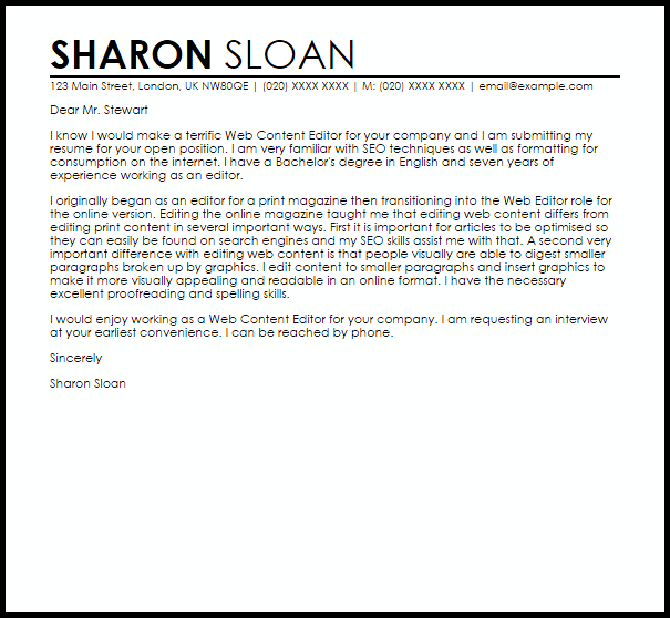 Content Writer Cover Letter Example