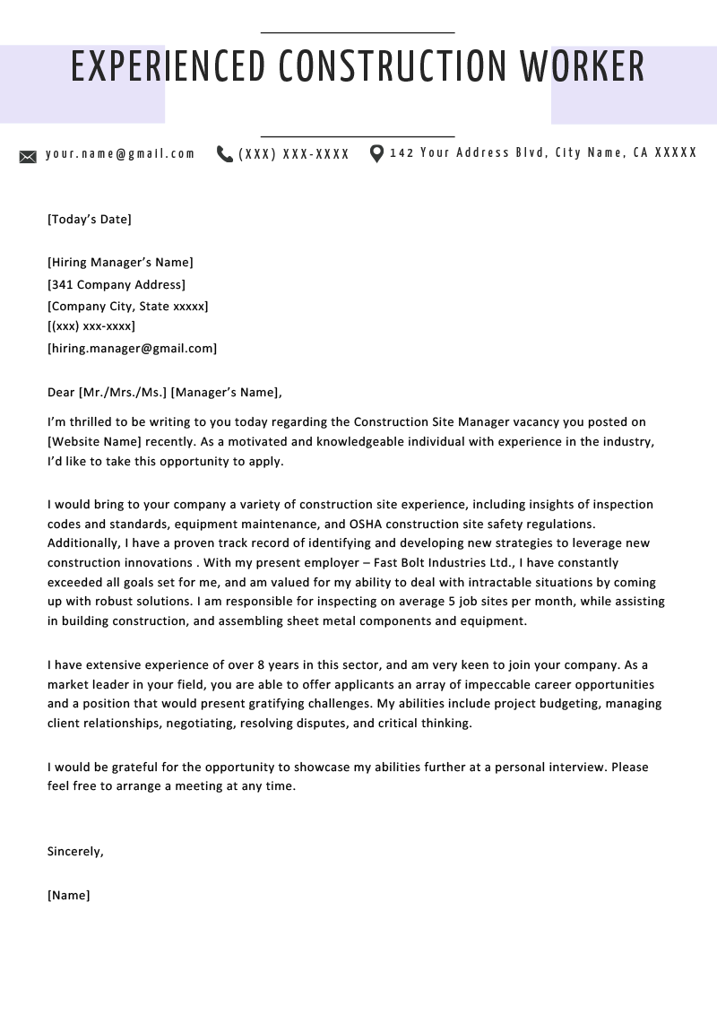 Cover Letter With Experience | | Mt Home Arts