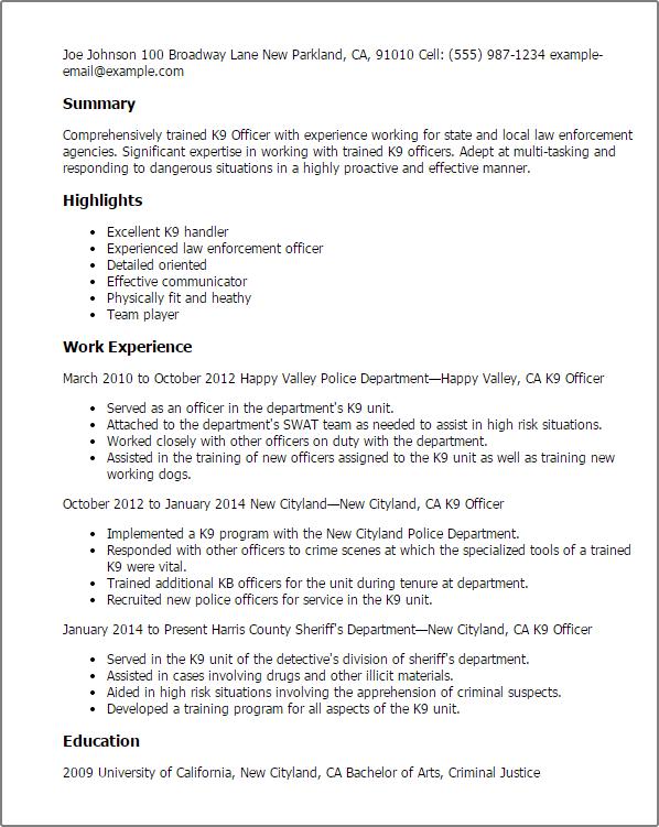 dog handler job description sample