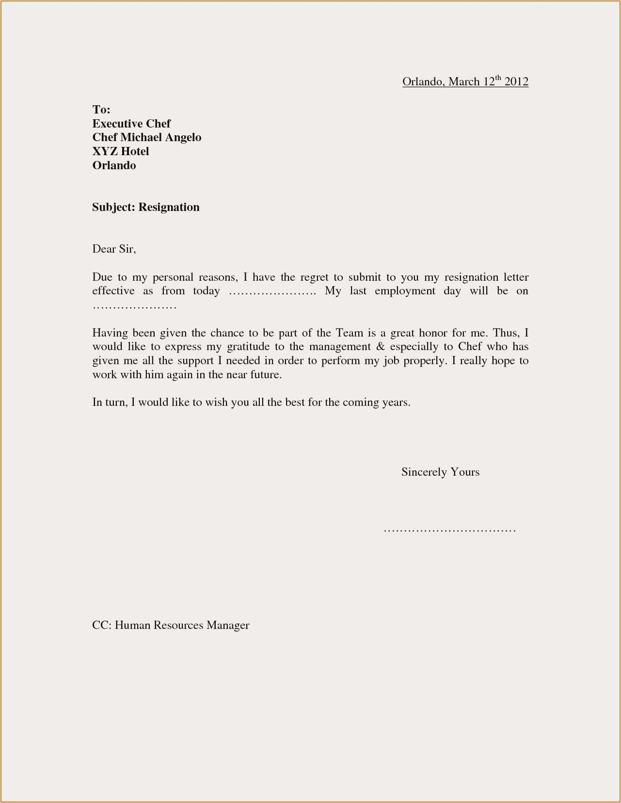 Resignation Letter After Short Employment from mthomearts.com