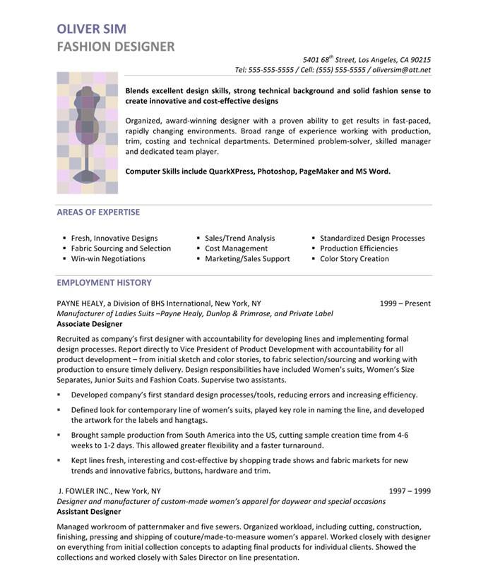 dressmaker job description for resume