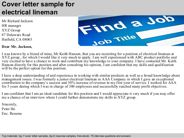 electrical line worker cover letter sample