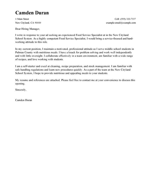 Entry Level Food Service Worker Cover Letter Sample | | Mt ...