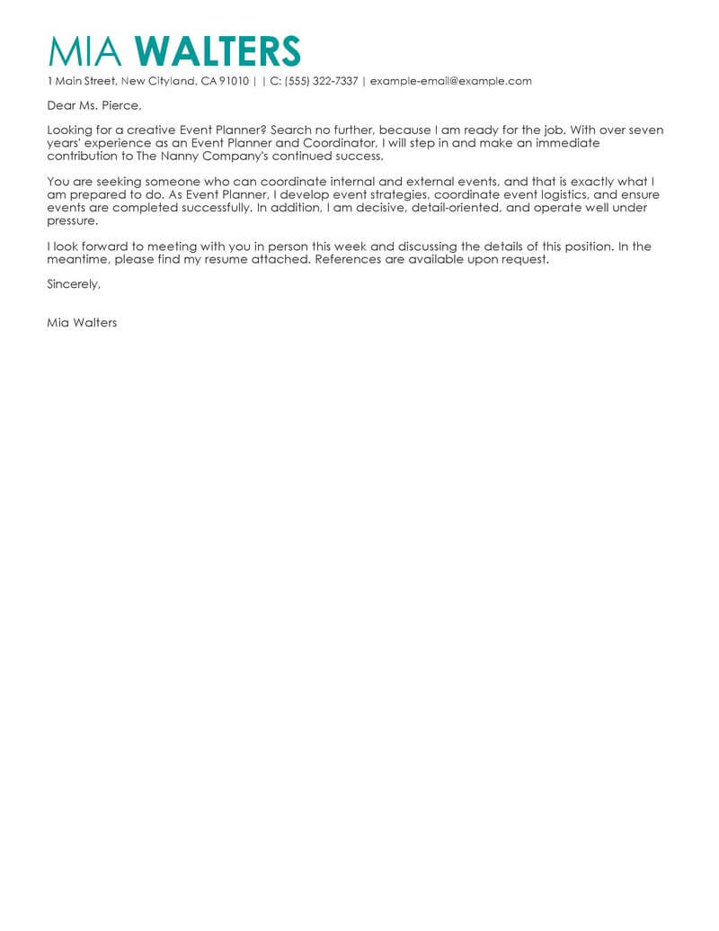 Event Worker Cover Letter Sample