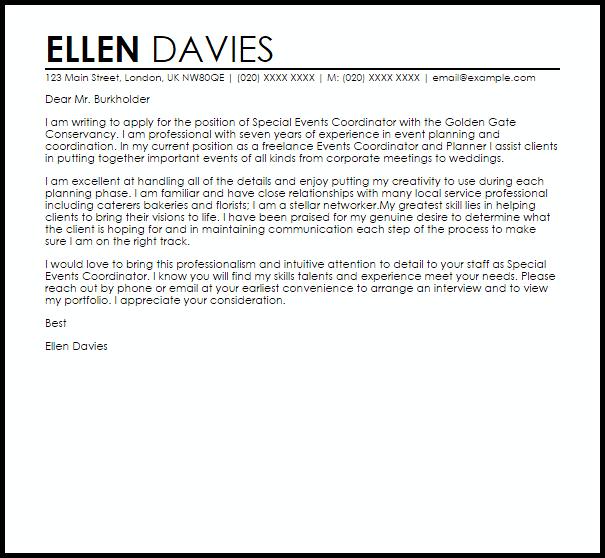 Cover letter for wedding internship