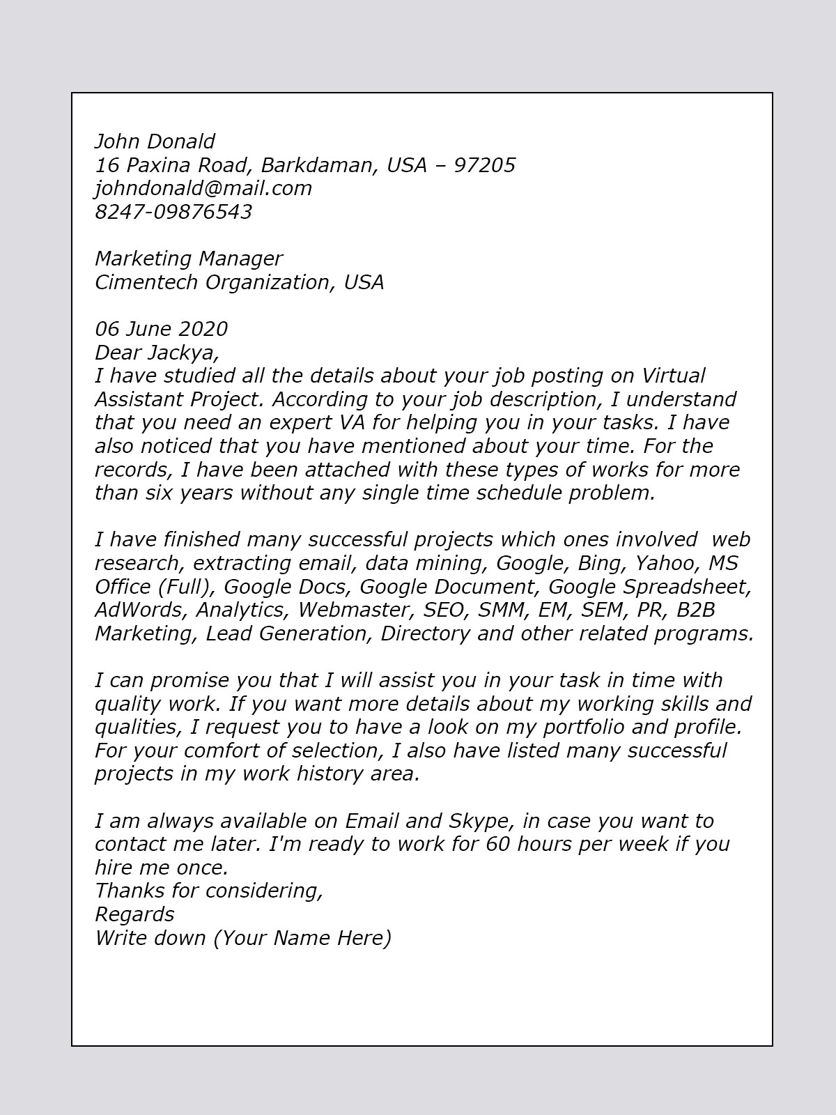 extraction worker cover letter sample