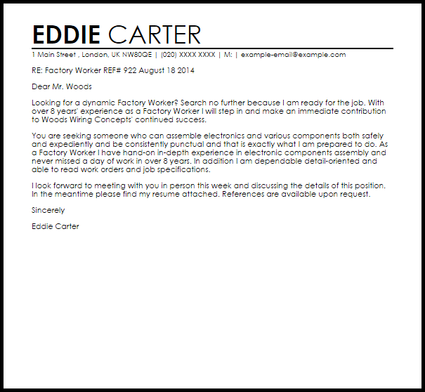 Factory Worker Cover Letter Sample | | Mt Home Arts