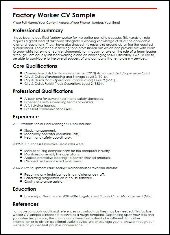 factory worker job description for resume