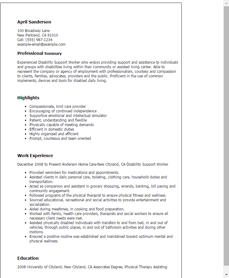 Family Service Worker Cover Letter Sample | | Mt Home Arts