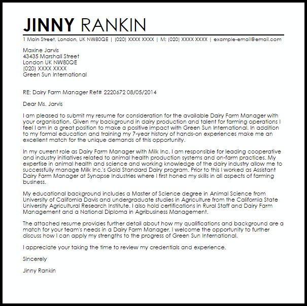 Farm Worker Cover Letter Sample | | Mt Home Arts