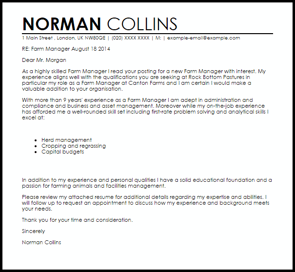 Sample Cover Letter For Human Services Position: Farm Worker Cover Letter Sample