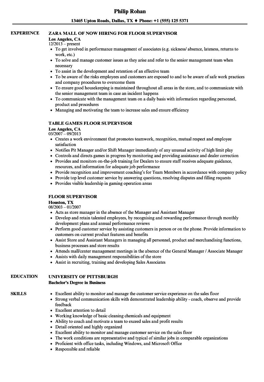 floor staff skills for resume