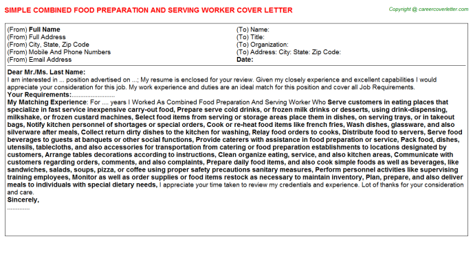 Food Preparation Worker Cover Letter Example | | Mt Home Arts
