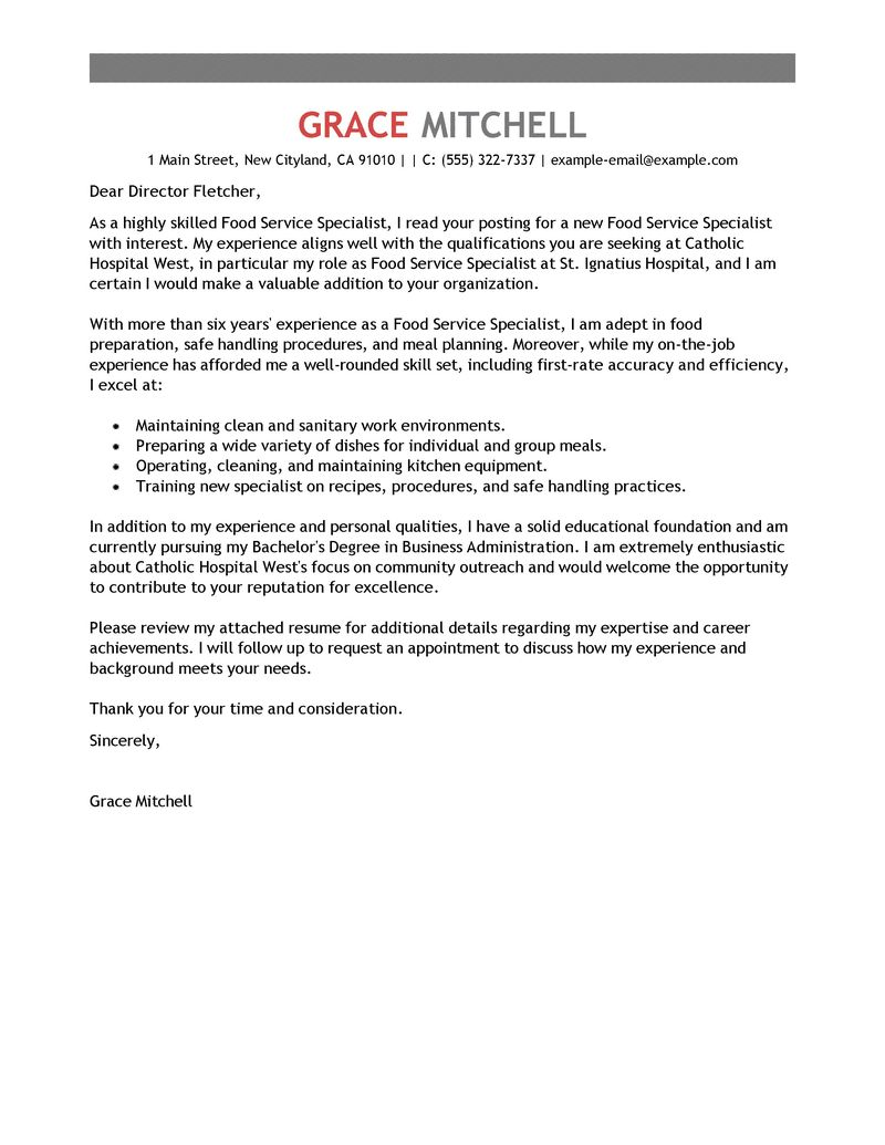 food preparation worker cover letter example