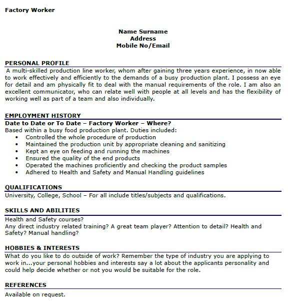food production worker job description