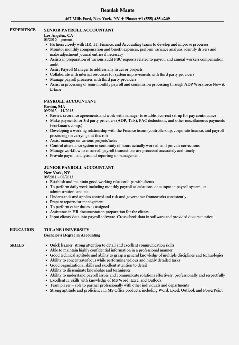 Payroll Accountant Resume Mt Home Arts