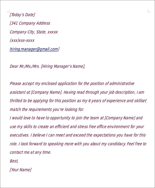 Ideal Cover Letter: Short Cover Letter Samples