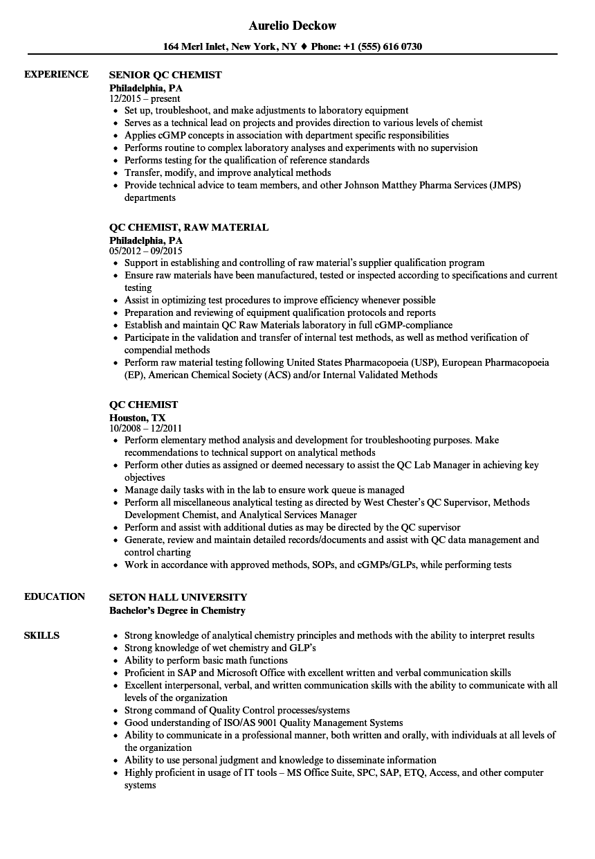 analytical chemist resume objectives
