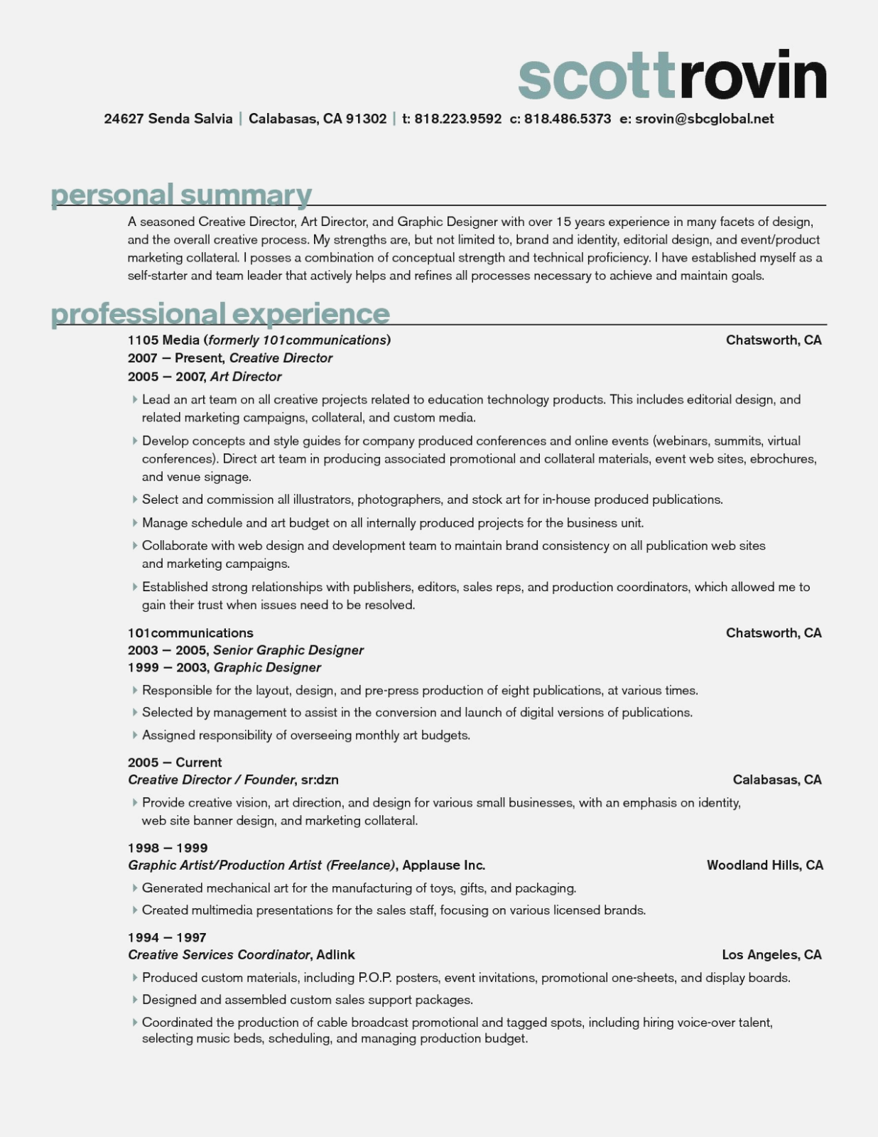 art director resume objectives