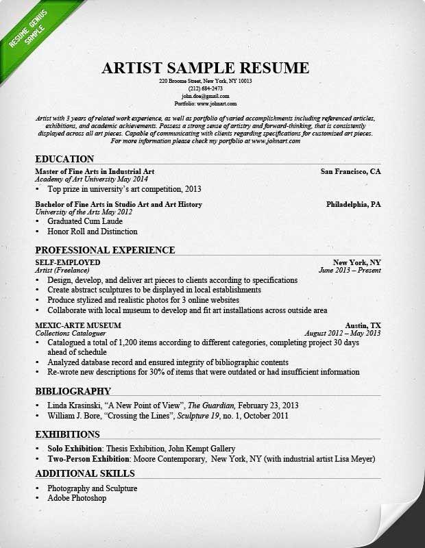 Artist Resume Template Sample Mt Home Arts