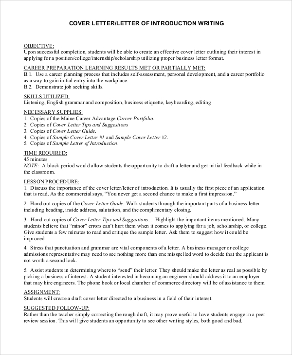 Sample Cover Letter Introductions from mthomearts.com