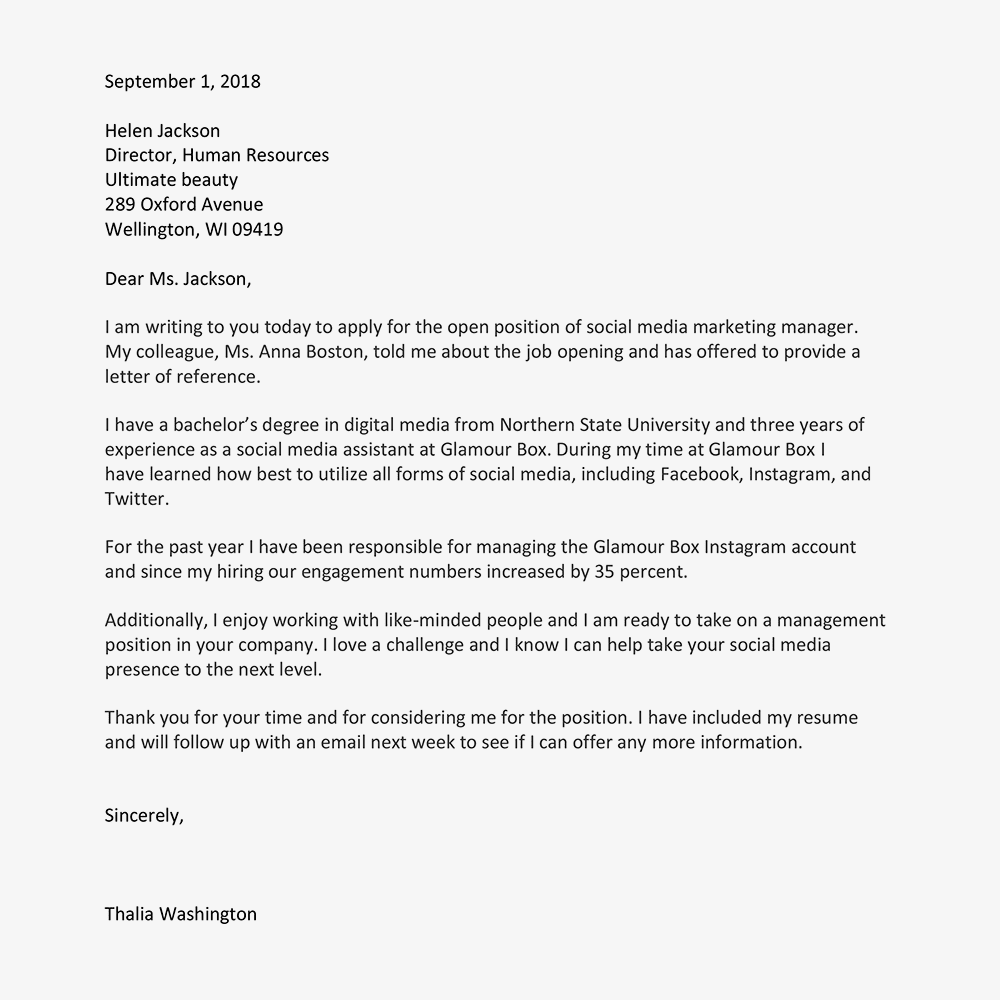 Template Cover Letter For Job Application