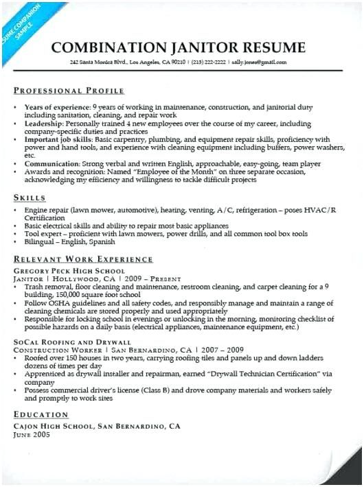 custodian resume samples