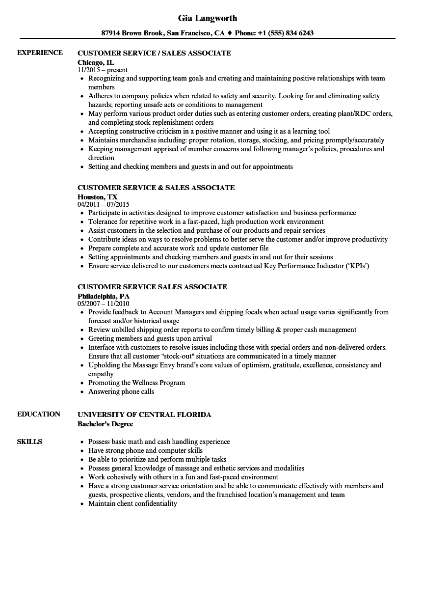 customer service sales resume
