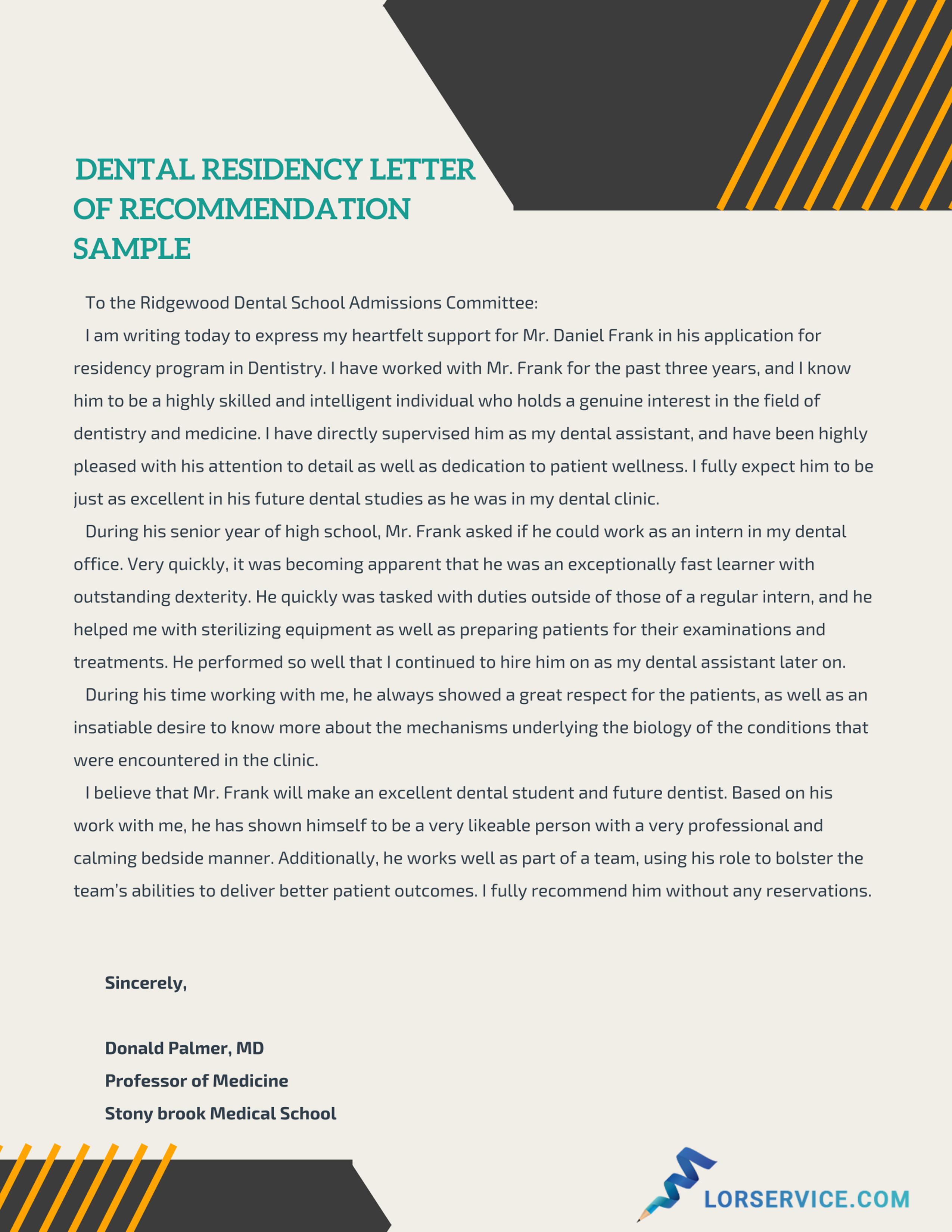 Dental School Letter Of Recommendation Mt Home Arts