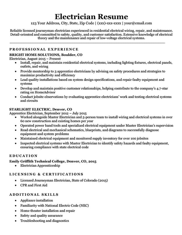 Electrician Resume Sample Mt Home Arts