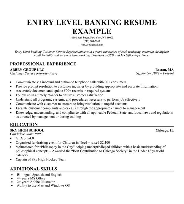 Junior Software Developer Cover Letter Sample: Entry Level Bank Resume