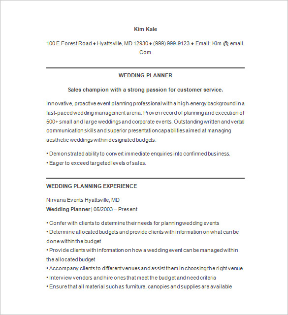 event coordinator resume objectives