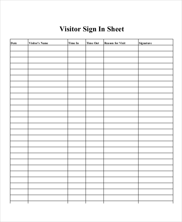 This is a picture of Printable Sign in Sheet for Meeting with regard to roster