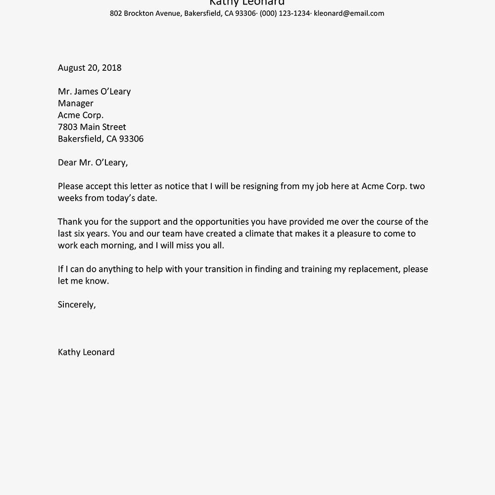 Proper Resignation Letter Format from mthomearts.com