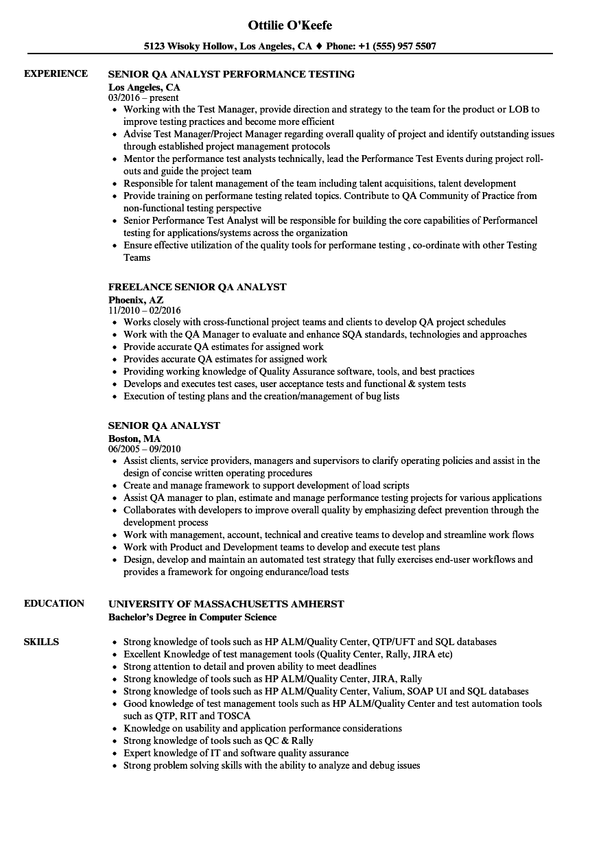 test analyst resume template