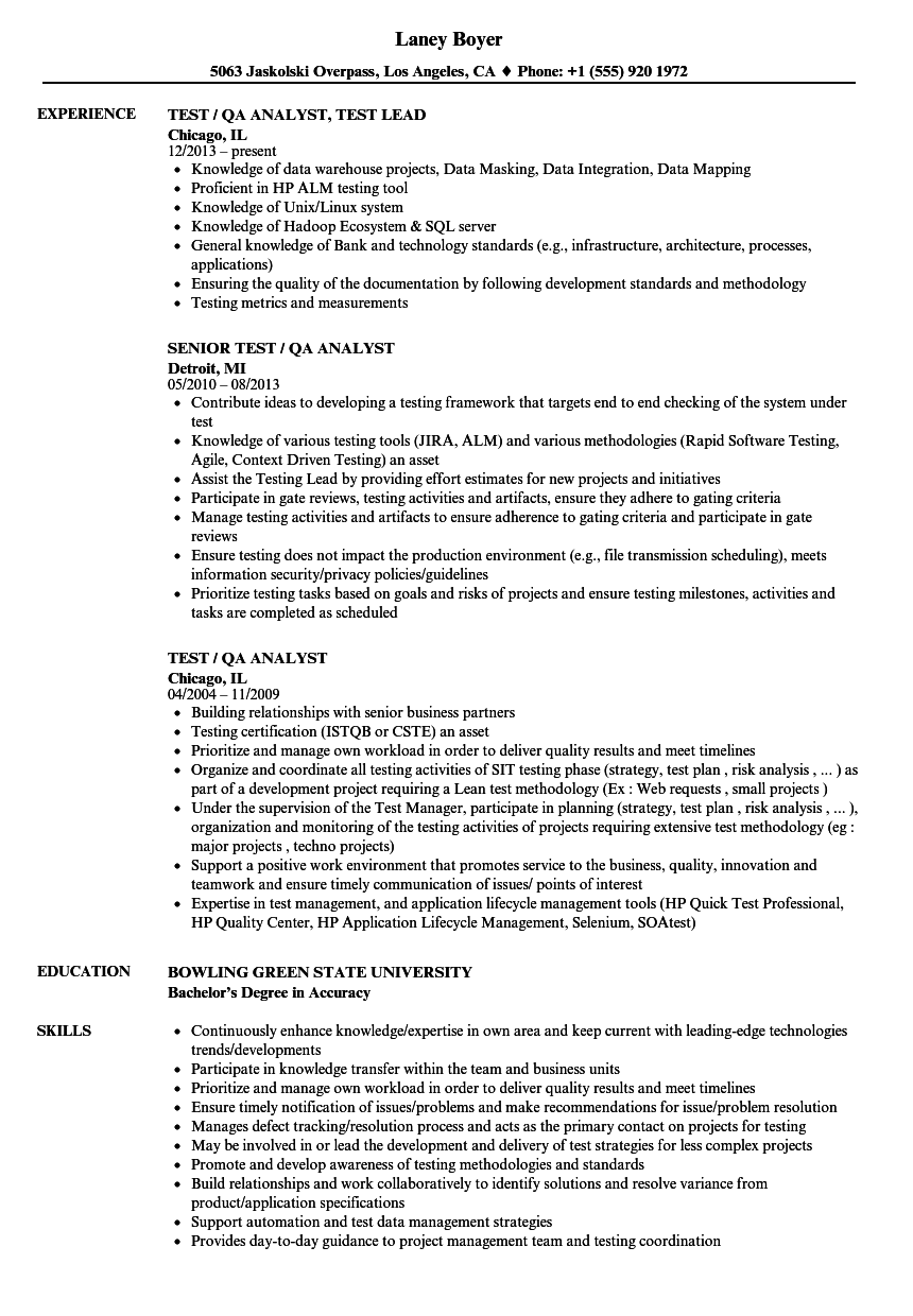 Test Analyst Resume Template Mt Home Arts