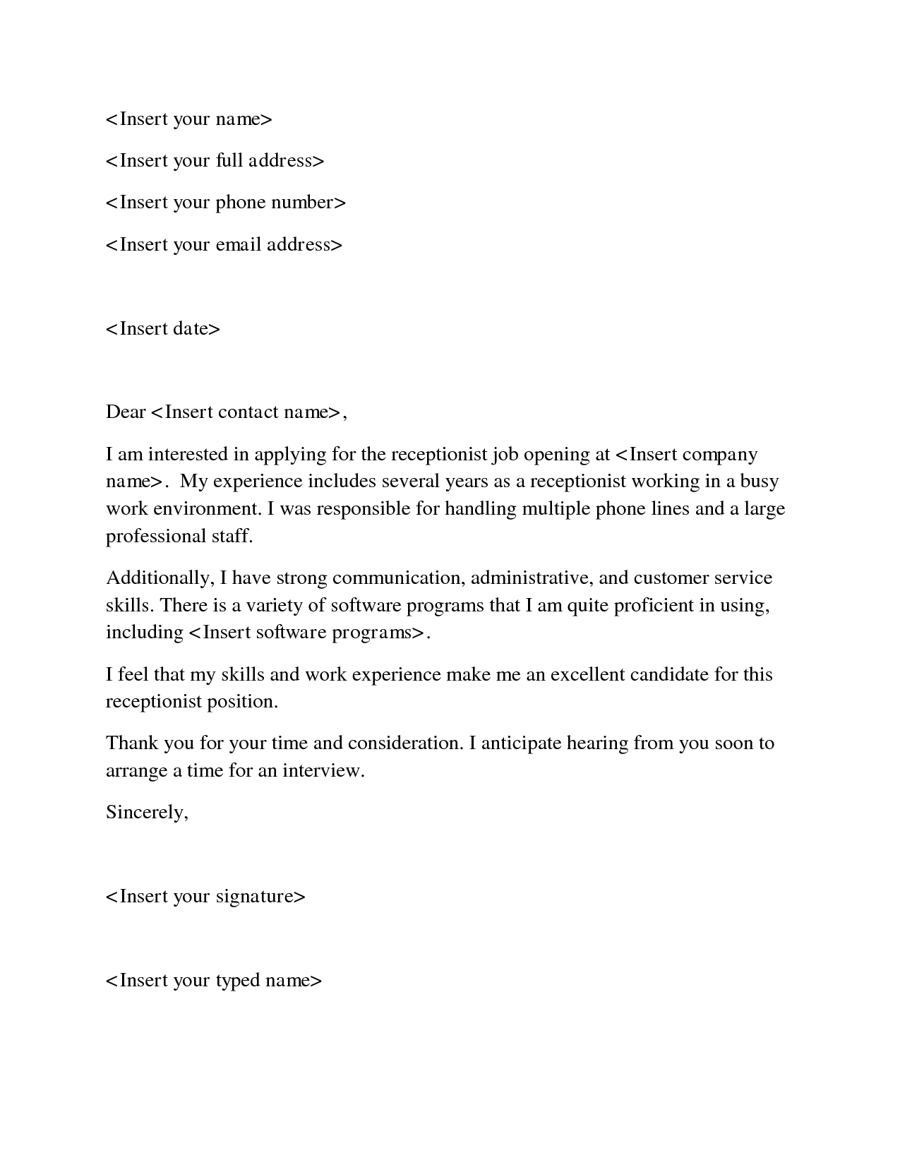 Cover Letter Medical Receptionist from mthomearts.com