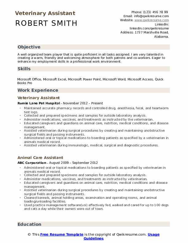 veterinary assistant resume